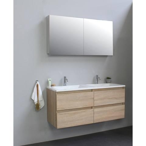 Bewonen Luuk badmeubel - 120cm - acryl wastafel - 2 kraangaten - eiken - met spiegelkast - bouwpakket