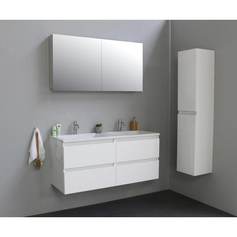 Bewonen Luuk badmeubel - 120cm - acryl wastafel - 2 kraangaten - hoogglans wit - met spiegelkast - bouwpakket