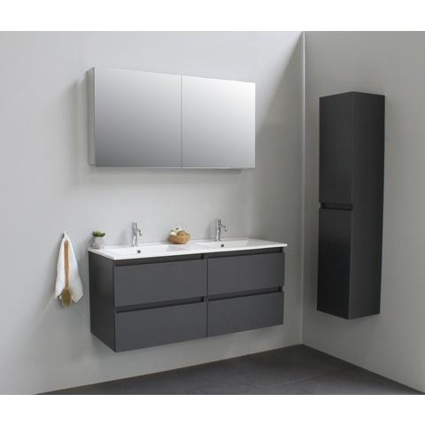 Bewonen Luuk badmeubel - 120cm - keramische wastafel - 2 kraangaten - mat antraciet - met spiegelkast - bouwpakket