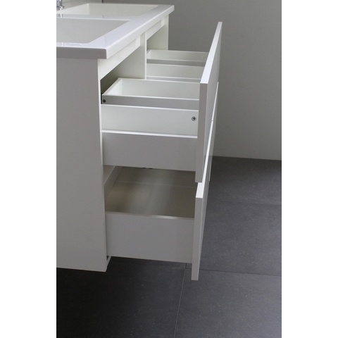 Bewonen Luuk badmeubel - 120cm - keramische wastafel - 2 kraangaten - hoogglans wit - met spiegelkast - bouwpakket