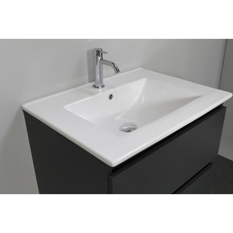 Bewonen Luuk badmeubel - 60cm - keramische wastafel - 1 kraangat - mat antraciet - zonder spiegel