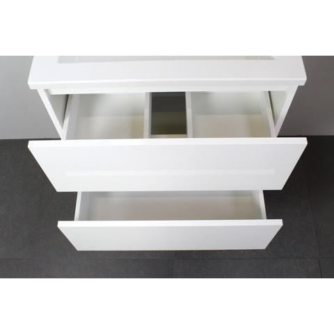 Bewonen Luuk badmeubel - 60cm - keramische wastafel - 1 kraangat - hoogglans wit - zonder spiegel