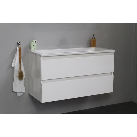 Bewonen Luuk badmeubel - 100cm - acryl wastafel - zonder kraangat - hoogglans wit - zonder spiegel