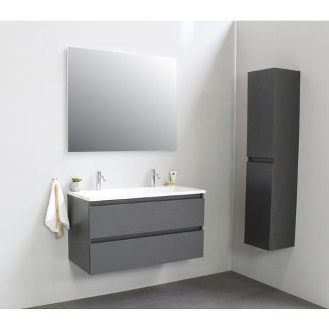 Bewonen Luuk badmeubel - 100cm - acryl wastafel - 2 kraangaten - mat antraciet - zonder spiegel