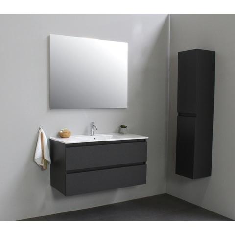 Bewonen Luuk badmeubel - 100cm - keramische wastafel - 1 kraangat - mat antraciet - zonder spiegel