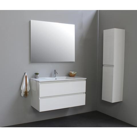 Bewonen Luuk badmeubel - 100cm - keramische wastafel - 1 kraangat - hoogglans wit - zonder spiegel