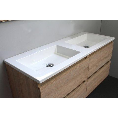 Bewonen Luuk badmeubel - 120cm - acryl wastafel - zonder kraangaten - eiken - zonder spiegel