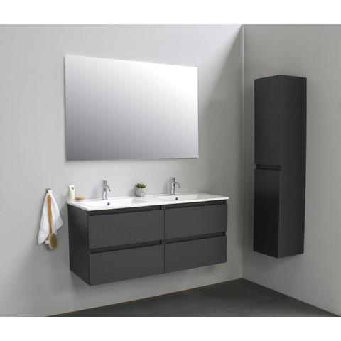 Bewonen Luuk badmeubel - 120cm - keramische wastafel - 2 kraangaten - mat antraciet - zonder spiegel