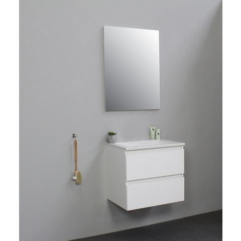 Bewonen Luuk badmeubel - 60cm - acryl wastafel - zonder kraangat - hoogglans wit - met spiegel