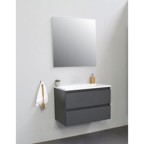 Bewonen Luuk badmeubel - 80cm - acryl wastafel - zonder kraangat - mat antraciet - met spiegel