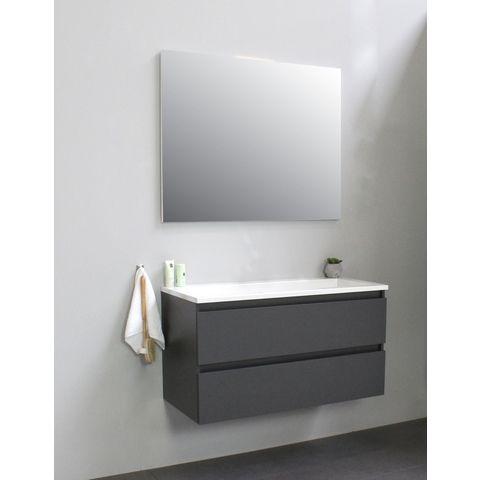 Bewonen Luuk badmeubel - 100cm - acryl wastafel - zonder kraangat - mat antraciet - met spiegel