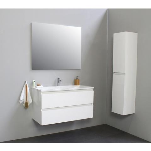 Bewonen Luuk badmeubel - 100cm - acryl wastafel - 1 kraangat - hoogglans wit - met spiegel