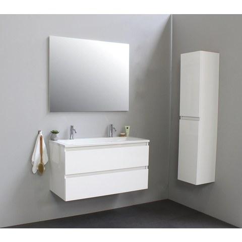 Bewonen Luuk badmeubel - 100cm - acryl wastafel - 2 kraangaten - hoogglans wit - met spiegel