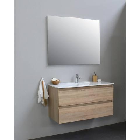 Bewonen Luuk badmeubel - 100cm - keramische wastafel - 1 kraangat - eiken - met spiegel