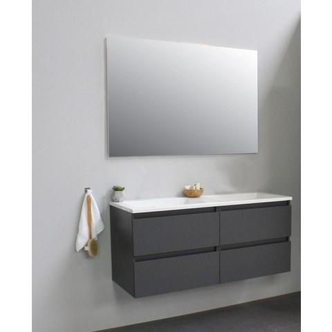 Bewonen Luuk badmeubel - 120cm - acryl wastafel - zonder kraangaten - mat antraciet - met spiegel