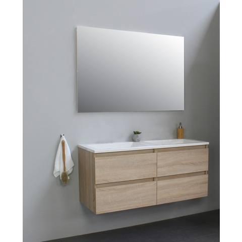 Wasbak Met Spiegel.Bewonen Luuk Badmeubel 120cm Acryl Wastafel Zonder Kraangaten Eiken Met Spiegel