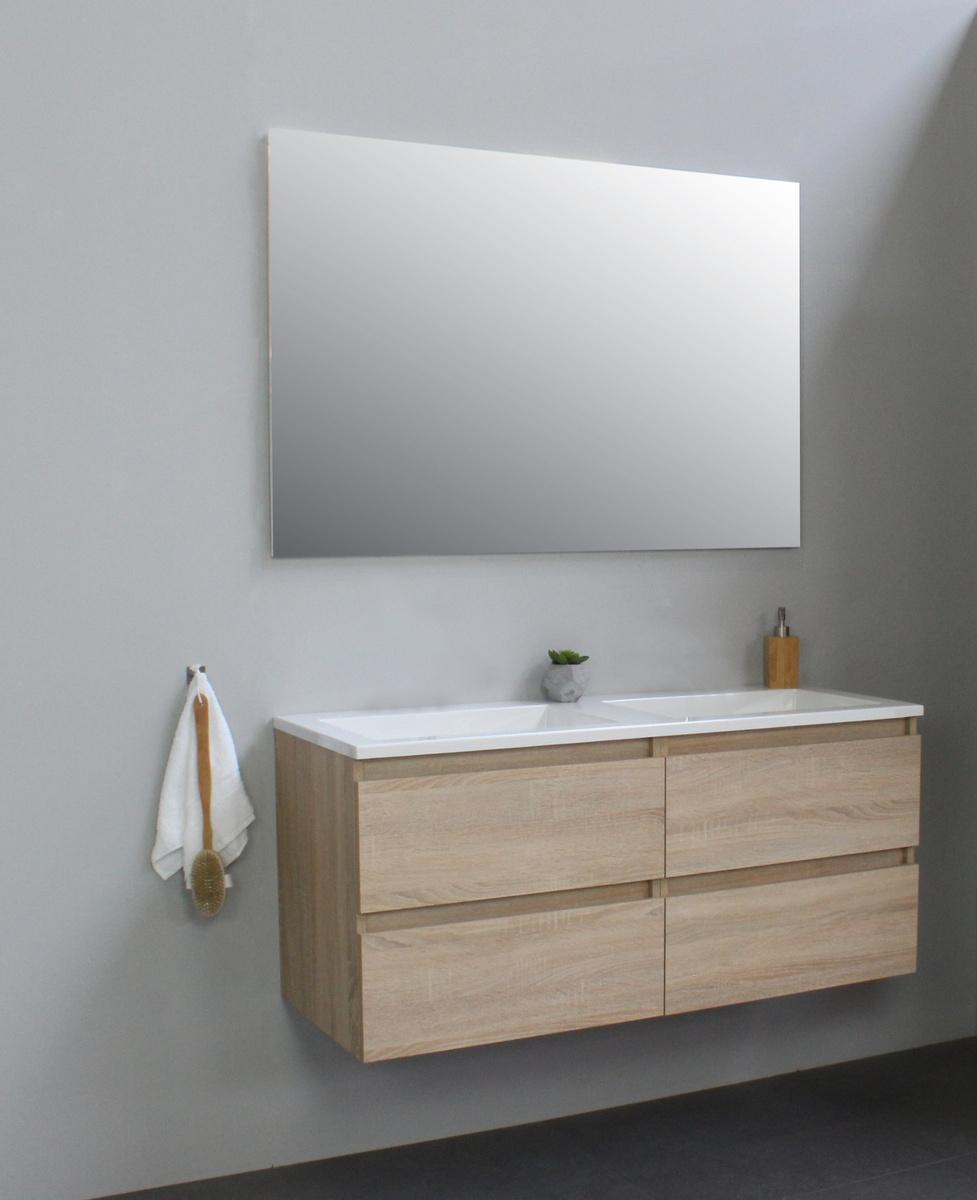 Bewonen Luuk badmeubel - 120cm - acryl wastafel - zonder kraangaten - eiken - met spiegel