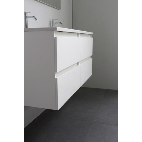 Bewonen Luuk badmeubel - 120cm - acryl wastafel - zonder kraangaten - hoogglans wit - met spiegel
