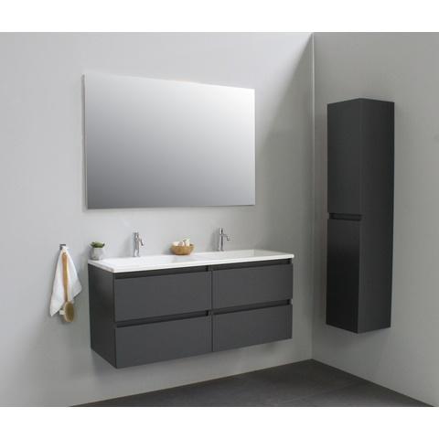 Bewonen Luuk badmeubel - 120cm - acryl wastafel - 2 kraangaten - mat antraciet - met spiegel