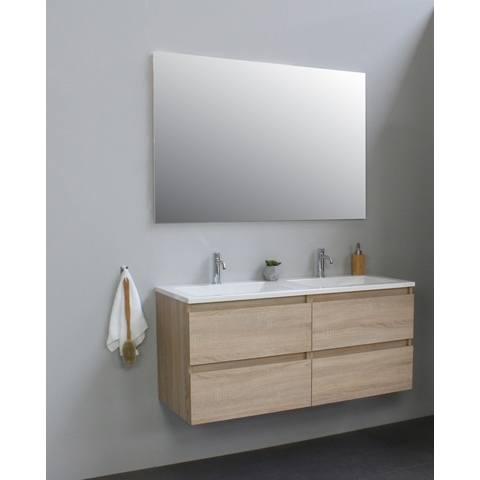 Bewonen Luuk badmeubel - 120cm - acryl wastafel - 2 kraangaten - eiken - met spiegel