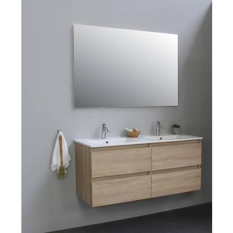 Bewonen Luuk badmeubel - 120cm - keramische wastafel - 2 kraangaten - eiken - met spiegel