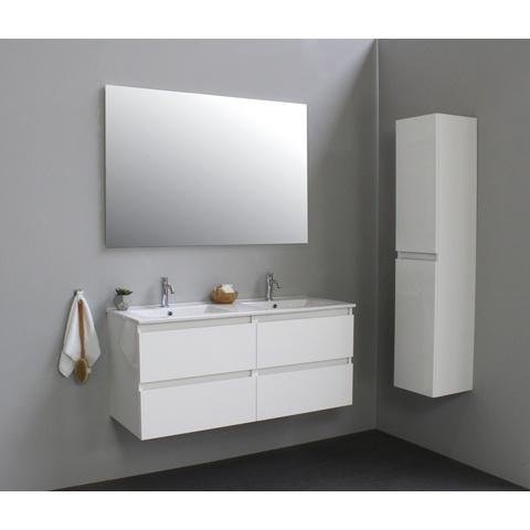 Bewonen Luuk badmeubel - 120cm - keramische wastafel - 2 kraangaten - hoogglans wit - met spiegel