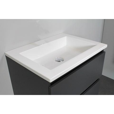 Bewonen Luuk badmeubel - 60cm - acryl wastafel - zonder kraangat - mat antraciet - met spiegelkast