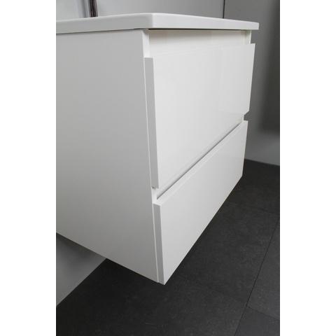 Bewonen Luuk badmeubel - 60cm - acryl wastafel - 1 kraangat - hoogglans wit - met spiegelkast