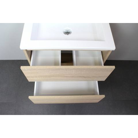 Bewonen Luuk badmeubel - 60cm - keramische wastafel - 1 kraangat - eiken - met spiegelkast