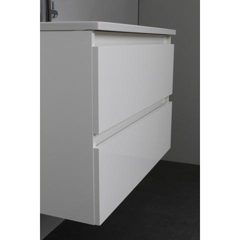 Bewonen Luuk badmeubel - 80cm - acryl wastafel - 1 kraangat - hoogglans wit - met spiegelkast