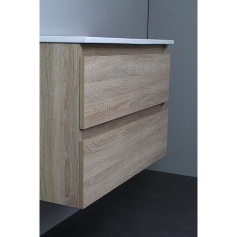 Bewonen Luuk badmeubel - 80cm - keramische wastafel - 1 kraangat - eiken - met spiegelkast