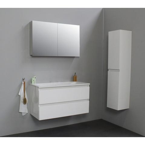 Bewonen Luuk badmeubel - 100cm - acryl wastafel - zonder kraangat - hoogglans wit - met spiegelkast