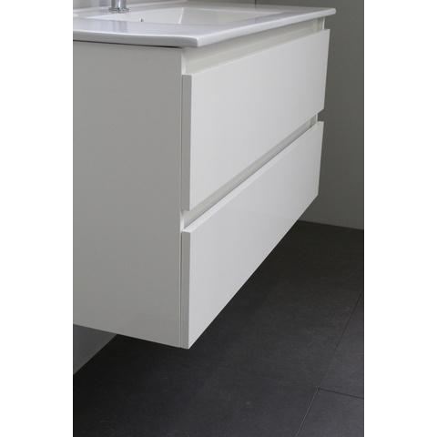 Bewonen Luuk badmeubel - 100cm - acryl wastafel - 1 kraangat - hoogglans wit - met spiegelkast