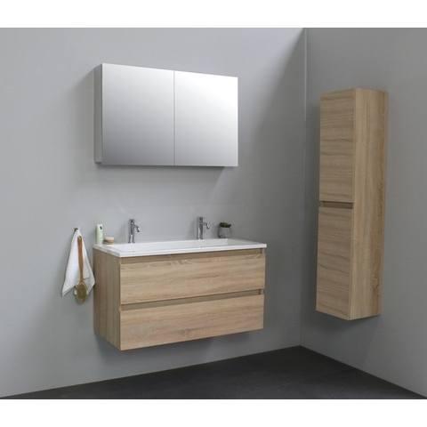 Bewonen Luuk badmeubel - 100cm - acryl wastafel - 2 kraangaten - eiken - met spiegelkast