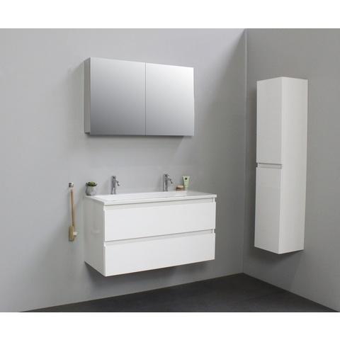Bewonen Luuk badmeubel - 100cm - acryl wastafel - 2 kraangaten - hoogglans wit - met spiegelkast