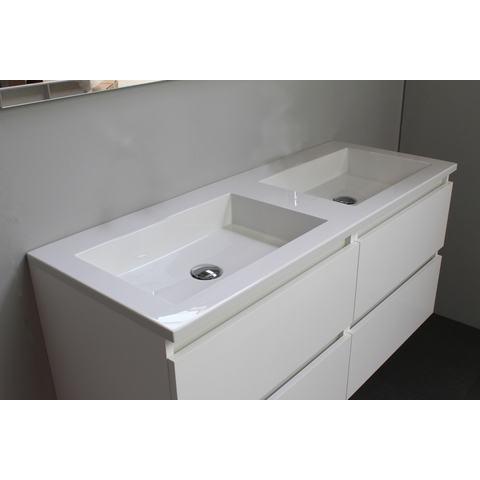 Bewonen Luuk badmeubel - 120cm - acryl wastafel - zonder kraangaten - hoogglans wit - met spiegelkast