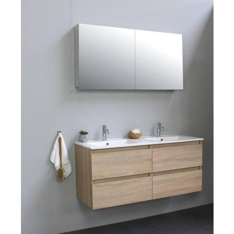 Bewonen Luuk badmeubel - 120cm - keramische wastafel - 2 kraangaten - eiken - met spiegelkast