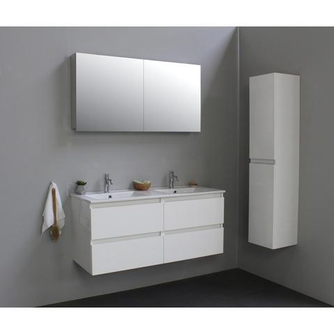 Bewonen Luuk badmeubel - 120cm - keramische wastafel - 2 kraangaten - hoogglans wit - met spiegelkast