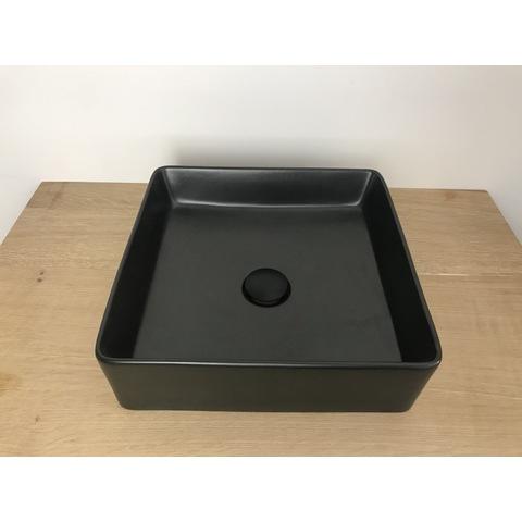 Blinq Ispra opzetwastafel vierkant 36x36cm mat zwart