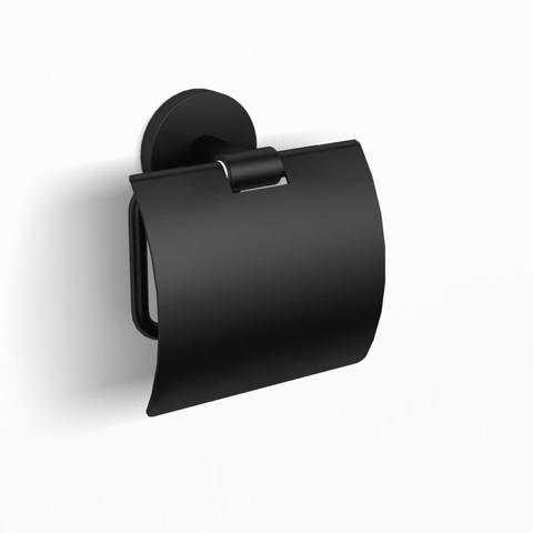 Blinq Columbus closetrolhouder met klep mat zwart