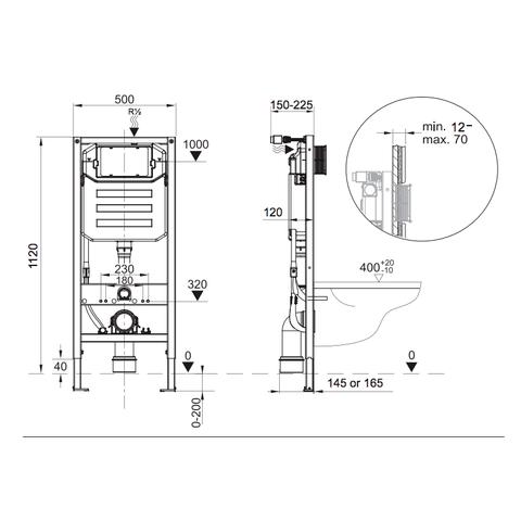 Blinq Chelmer premium inbouw reservoir 112cm