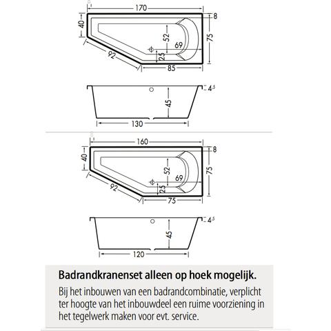 Xenz Lagoon Compact bad 160x75cm Links asymmetrisch Cement