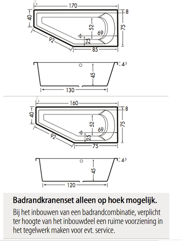 Xenz Lagoon Compact bad 160x75cm Links asymmetrisch Klei