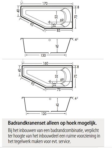 Xenz Lagoon Compact bad 170x75cm Links asymmetrisch Pergamon