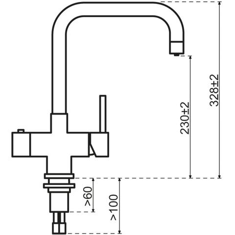 Selsiuz kokendwaterkraan haaks - inox - single boiler
