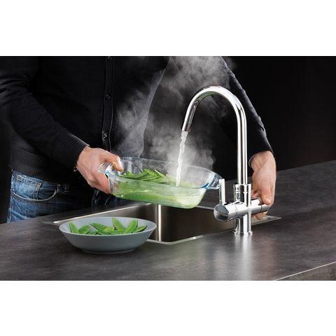 Selsiuz kokendwaterkraan rond - inox - single boiler