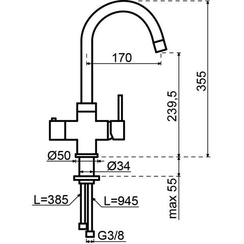 Selsiuz kokendwaterkraan rond - koper - combi extra boiler