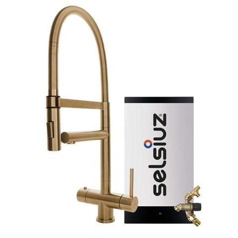 Selsiuz kokendwaterset met kraan XL - gold - combi extra boiler