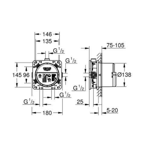 Grohe Rapido Smartbox basisgarnituur voor inbouwthermostaat