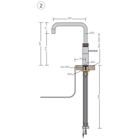 Quooker Fusion Square kokend water keukenmengkraan - RVS - met Pro3 boiler